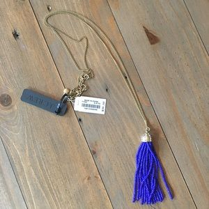 J CREW Blue Tassle Long Necklace NEW w/ tag $40
